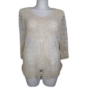 Maurices Crochet & Lace Tunic Sheer Top Size 1